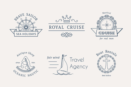 Retro nautical labels and icons. Vector templates for logo design of travel agencies, tourist offices, boat rental or cruise.