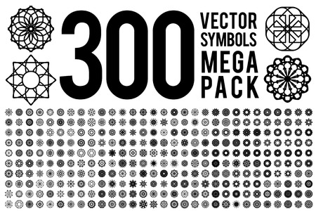 Geometric circular ornament set. Vector isolated symbols Illustration