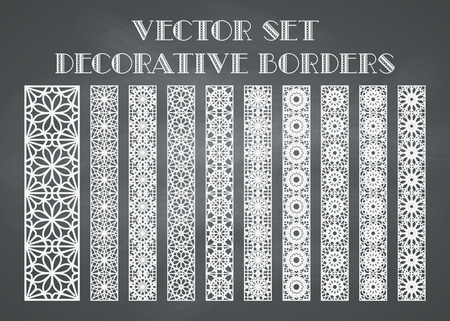 antique asian: Design elements and page decoration. Vector set of borders on chalkboard background