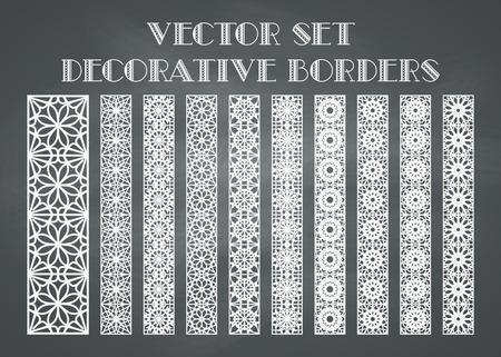 borde de flores: Los elementos de dise�o y decoraci�n de la p�gina. Vector conjunto de las fronteras en el fondo pizarra Vectores