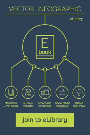 e reader: Flat Ebook infographic. Vector line art Elibrary concept Illustration