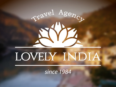 symbol tourism: Lovely India logo template. Vector ethnic ornamental design for travel agency.