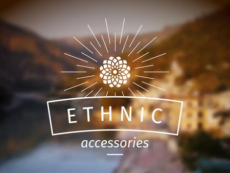 アジアのファッション店ロゴ テンプレート背景をぼかし。ベクトル衣類とアクセサリーのブティックのエスニックな装飾デザイン。 ベクターイラストレーション