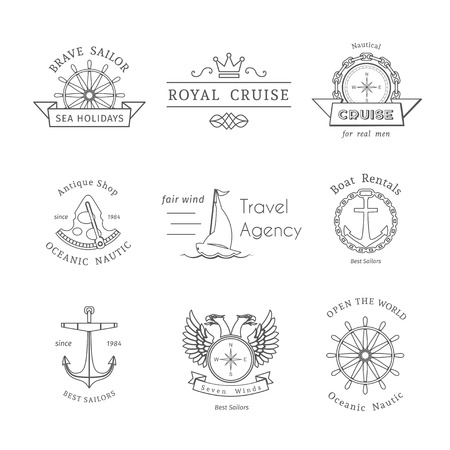 for rental: Retro nautical labels and icons. Vector templates for icon design of travel agencies, tourist offices, boat rental or cruise.