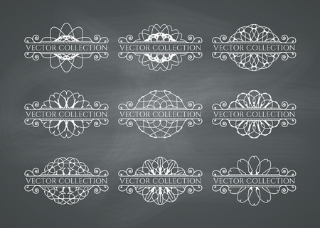 vintage document: Calligraphic design elements. Vector set of page decorations on chalkboard background