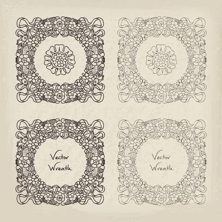 rococo style: Doodle floral wreath set. Retro vector illustration in rococo style seventeenth century