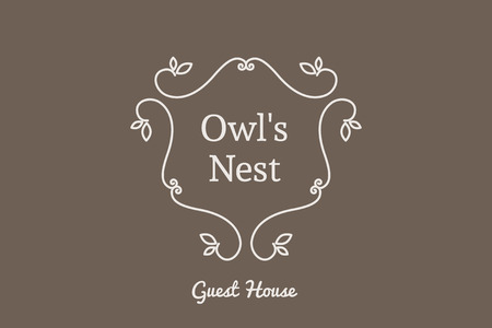 guests: Line art logo template for guest house. Vector monogram symbol