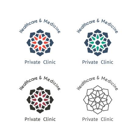 Asian health templates set. Vector ethnic ornamental design for healthcare and medicine. Vector