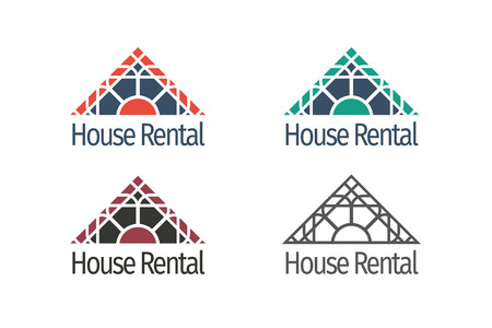 rent house: Asian real estate templates set. Vector ethnic ornamental design for agency, house and apartment rental, construction services or apartment repairs.
