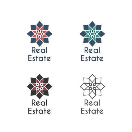 for rental: Asian real estate logo templates set. Vector ethnic ornamental design for agency, house and apartment rental, construction services or apartment repairs.