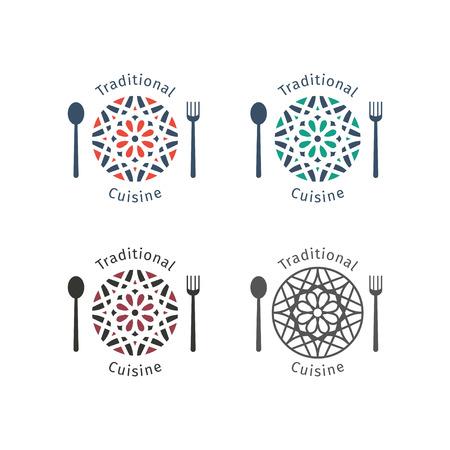 food logo: Asian food logo templates set. Vector ethnic ornamental design for restaurants and cafes. Illustration