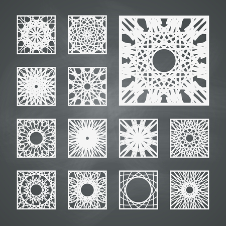 Arabic square ornament set. Vector patterns collection on chalkboard background Vector