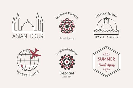 for rental: Asian travel  templates set. Vector ethnic ornamental design for travel agencies, tourist offices, local guides, booking and rental services.