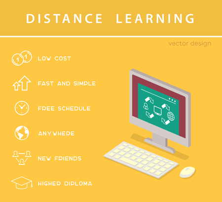 Distance learning isometric concept with lineart icons and computer. Vector flat education infographic