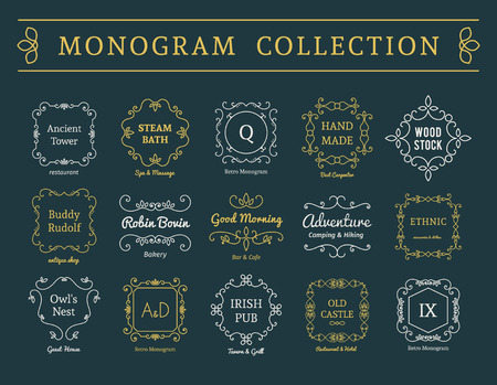 editable sign: Vintage monogram set. Vector emblems for calligraphic luxury  and retro ornamental design.