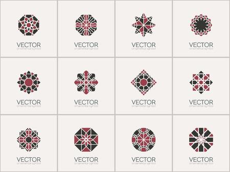 기하학적 로고 템플릿을 설정합니다. 벡터 아랍어 장식 문자