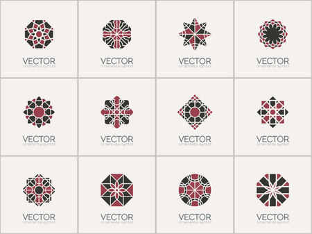 mehendi: Geometric logo template set. Vector arabic ornamental symbols