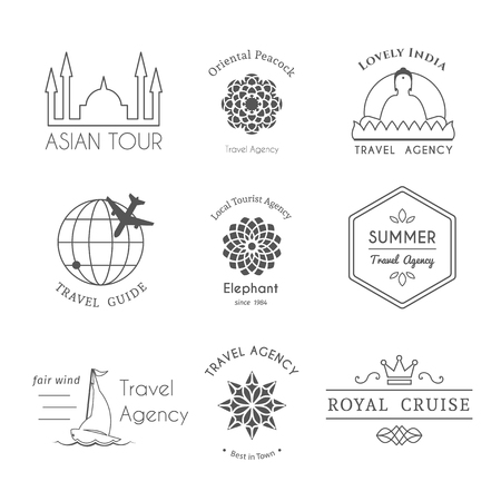 for rental: Asian travel logo templates set. Vector ethnic ornamental design for travel agencies, tourist offices, local guides, booking and rental services.