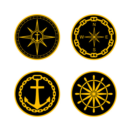 naval: Round nautical emblems. Vector set for naval badges