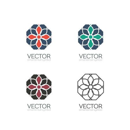 spirograph: Geometric logo template set. Vector ornamental symbols Illustration
