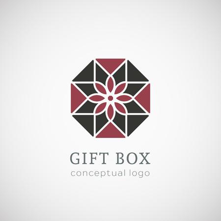 Gift box logo top view. Vector conceptual symbol Vector