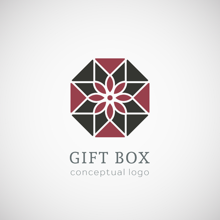 conceptual symbol: Gift box logo top view. Vector conceptual symbol