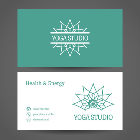 health and wellness: Yoga ornamental business card. Vector editable template include front and back side for relax or spa center, yoga studio, healthcare and traditional medicine Illustration