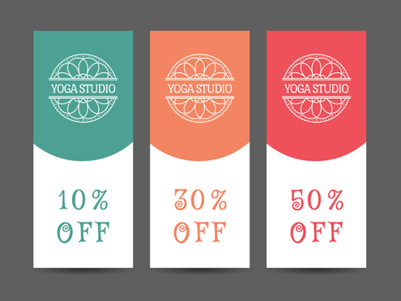 traditional medicine: Yoga ornamental discount coupon. Vector editable template for relax or spa center, yoga studio, healthcare and traditional medicine Illustration