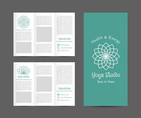 health and wellness: Yoga ornamental brochure. Vector editable template for relax or spa center, yoga studio, healthcare and traditional medicine