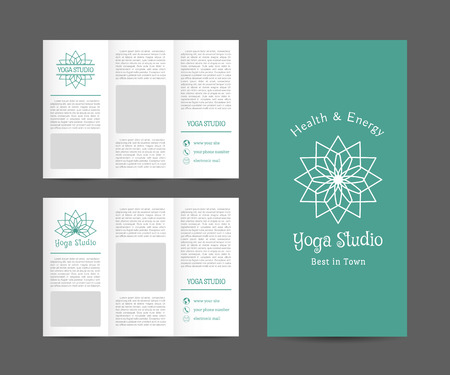 Yoga ornamental brochure. Vector editable template for relax or spa center, yoga studio, healthcare and traditional medicine Vector
