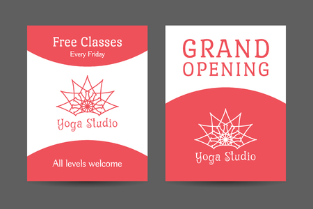 Yoga ornamental brochure flyer design. Vector editable template for relax or spa center, yoga studio, healthcare and traditional medicine Vector
