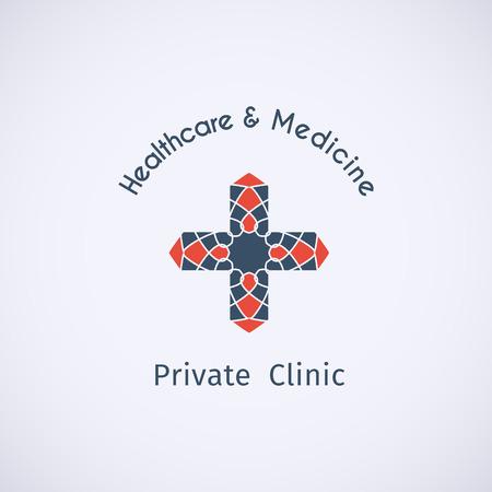 Asian healthcare and medicine logo template. Vector ethnic ornamental design. Illustration