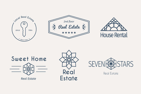 apartments: Asian real estate logo templates set. Vector ethnic ornamental design for agency, house and apartment rental, construction services or apartment repairs.