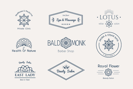 Asian health and beauty logo templates set. Vector ethnic ornamental design for beauty salons, spa, massage, barber shops, saunas, healthcare and medicine. Illustration