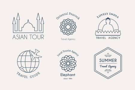 guides: Asian travel logo templates set. Vector ethnic ornamental design for travel agencies, tourist offices, local guides, booking and rental services.