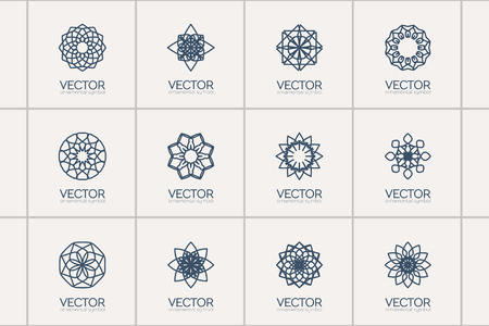 lineart: Lineart ornamental logo templates set. Vector arabic geometric symbols