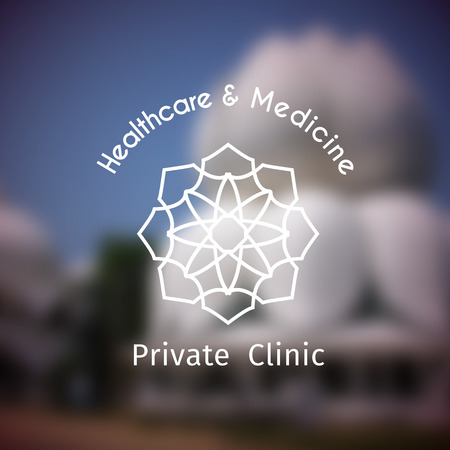 Asian health logo template. Vector ethnic ornamental design for healthcare and medicine. Illustration