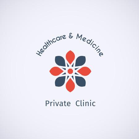 sanatorium: Asian healthcare and medicine logo template. Vector ethnic ornamental design. Illustration