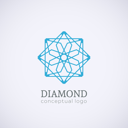 lineart: Diamond logo top view. Vector lineart symbol