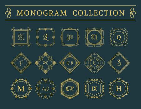 luxury: Vintage monogram set. Vector emblems for calligraphic luxury logos and retro ornamental design.