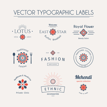 indian food: Asian templates set. Vector typographic labels