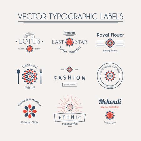 Aziatische sjablonen ingesteld. Vector typografische labels Stock Illustratie
