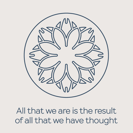 Asian religious circular ornament. Vector illustration with lineart mandala and Buddha quote Illusztráció