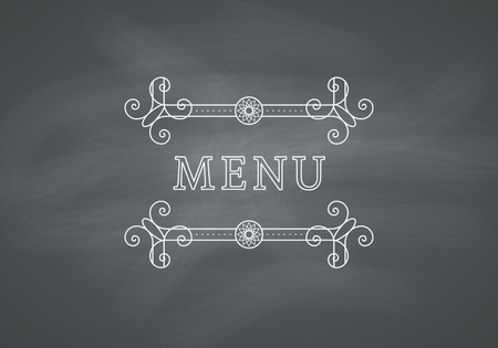 headline: Restaurant Menu Headline on Chalkboard Background. Vector Vintage Design