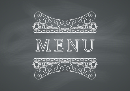 black textured background: Restaurant Menu Headline on Chalkboard Background. Vector Vintage Design