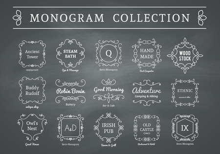 floral ornament: Vintage monogram set on chalkboard background. Vector emblems for calligraphic luxury  and retro ornamental design. Illustration