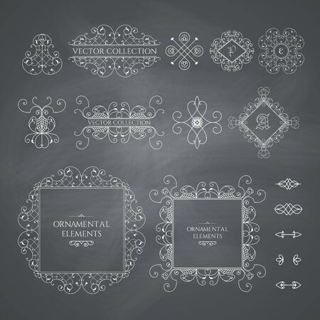 Calligraphic design elements. Vector set of vintage page decorations on chalkboard background Illusztráció