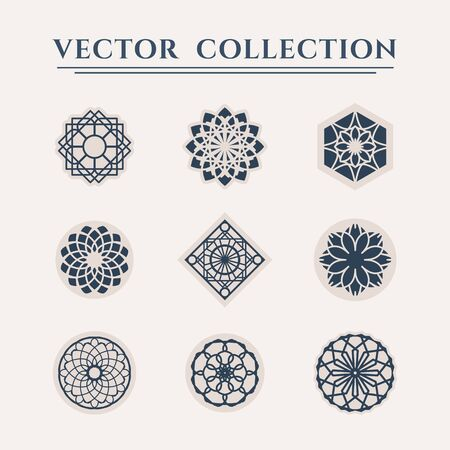 Ornamental  templates set. Vector arabic geometric symbols 일러스트