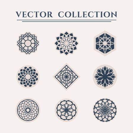Ornamental  templates set. Vector arabic geometric symbols Illusztráció