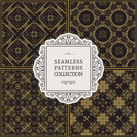 Seamless textures with vintage geometric ornament. Vector set of luxury retro patterns